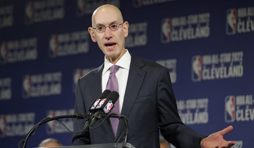 This Nov. 1, 2018, file photo shows, NBA Commissioner Adam Silver announcing that the Cleveland Cavaliers will host the 2022 NBA All Star game in Cleveland. AP Photo/Tony Dejak, File)