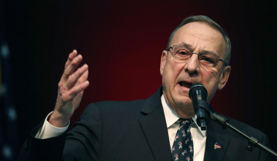 Republican Gov. Paul LePage speaks at the Republican Convention in Augusta, Maine. (AP Photo/Robert F. Bukaty, File)