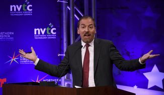 """Chuck Todd, host of NBC News' """"Meet the Press,"""" said his show is """"not going to give time to climate deniers."""" (Katherine Frey/The Washington Post via AP, Pool)"""