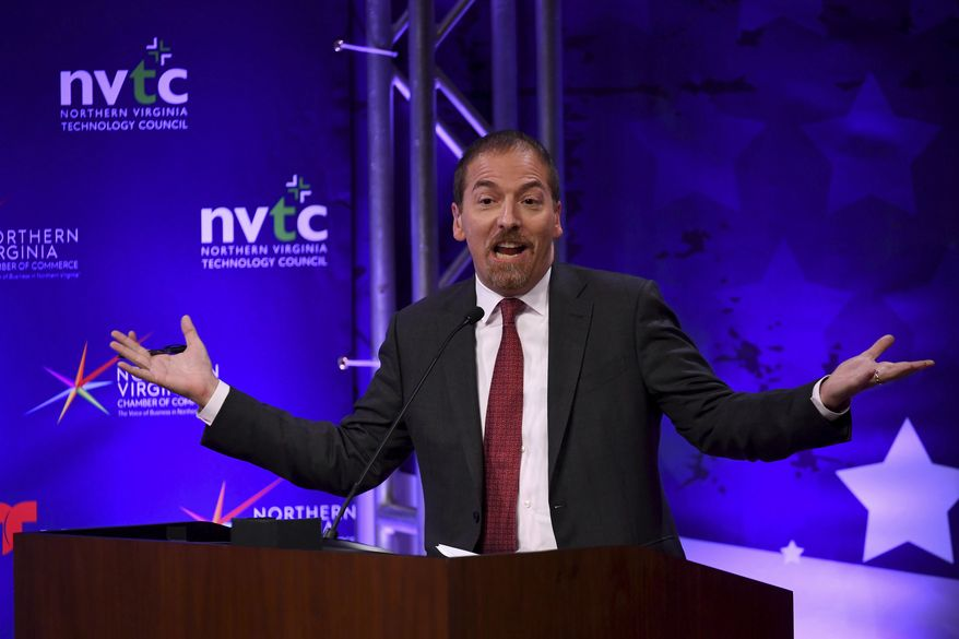 """Chuck Todd, host of NBC News' """"Meet the Press,"""" said his show is """"not going to give time to climate deniers."""" (Katherine Frey/The Washington Post via AP, Pool) ** FILE **"""
