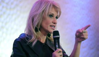 White House counselor Kellyanne Conway speaks in support of Republican congressional candidate Jay Webber at an event in Wayne, N.J., Monday, Oct. 22, 2018. Webber is running against Democrat Mikie Sherrill; the race is among the most closely watched this year as Republicans defend their House majority and Democrats hope to flip about two dozen seats to take control. (AP Photo/Seth Wenig)