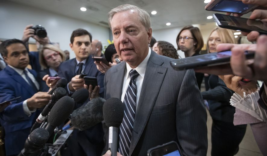 "Sen. Lindsey Graham, R-S.C., chairman of the Subcommittee on Crime and Terrorism, speaks to reporters after a closed-door security briefing by CIA Director Gina Haspel on the slaying of Saudi journalist Jamal Khashoggi and involvement of the Saudi crown prince, Mohammed bin Salman, at the Capitol in Washington, Tuesday, Dec. 4, 2018. Graham said there is ""zero chance"" the crown prince wasn't involved in Khashoggi's death. (AP Photo/J. Scott Applewhite)"