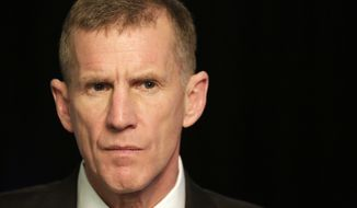 FILE- In this Jan. 7, 2013, file photo retired Gen. Stanley McChrystal reacts during an interview with The Associated Press in New York. The former top U.S. commander in Afghanistan says that withdrawing up to half the 14,000 American troops serving there reduces the incentive for the Taliban to negotiate a peace deal after more than 17 years of war. McChrystal says on ABCs This Week that the U.S. has basically traded away the biggest leverage point we have. (AP Photo/Mark Lennihan, File)