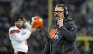 Cleveland Browns head coach Gregg Williams walks on the sideline in the second half of an NFL football game against the Baltimore Ravens, Sunday, Dec. 30, 2018, in Baltimore. (AP Photo/Carolyn Kaster)