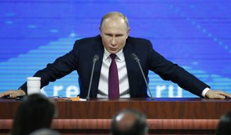 In this file photo taken on Thursday, Dec. 20, 2018, Russian President Vladimir speaks during his annual news conference in Moscow, Russia. (AP Photo/Alexander Zemlianichenko, File)