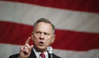 In this Dec. 5, 2017, file photo, former Alabama Chief Justice and U.S. Senate candidate Roy Moore speaks at a campaign rally, in Fairhope Ala. (AP Photo/Brynn Anderson, File)