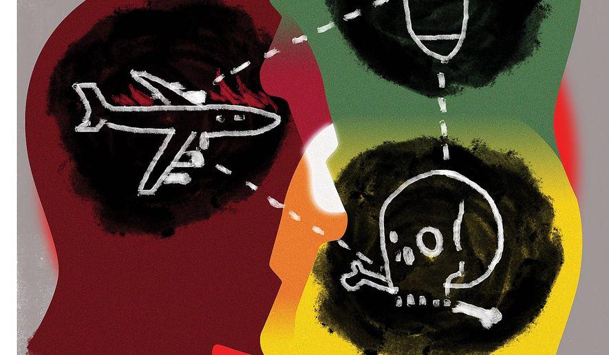 Illustration on the terrorist mind by Linas Garsys/The Washington Times