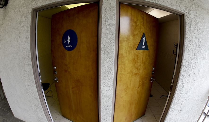 In this image taken with a fisheye lens, the doors to public restrooms are propped open at an office complex on Monday, May 9, 2016, in Anaheim, Calif. (AP Photo/Chris Carlson) ** FILE **