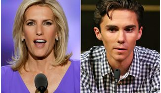 In this combination photo, Fox News personality Laura Ingraham speaks at the Republican National Convention in Cleveland on July 20, 2016, left, and David Hogg, a student survivor from Marjory Stoneman Douglas High School in Parkland, Fla., speaks at a rally for common sense gun legislation in Livingston, N.J. on Feb. 25, 2018.  Ingraham is expected back at work on Monday, April 9, 2018 following a backlash by advertisers upset over her tweet mocking a the Parkland, Florida, school shooting survivor. (AP Photo/J. Scott Applewhite, left, and Rich Schultz)