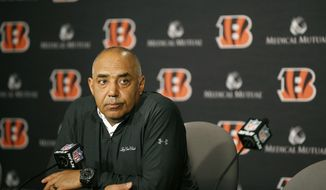 Cincinnati Bengals head coach Marvin Lewis speaks at a press conference at Paul Brown Stadium Monday, Dec. 31, 2018, in Cincinnati. The Bengals fired coach Lewis, ending a 16-year stay in Cincinnati that included a club-record record five straight playoff appearances without so much as one win. (Cara Owsley/The Cincinnati Enquirer via AP) **FILE**