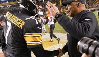 Pittsburgh Steelers quarterback Ben Roethlisberger (7) greets Cincinnati Bengals head coach Marvin Lewis after an NFL football game, Sunday, Dec. 30, 2018, in Pittsburgh. (AP Photo/Don Wright)