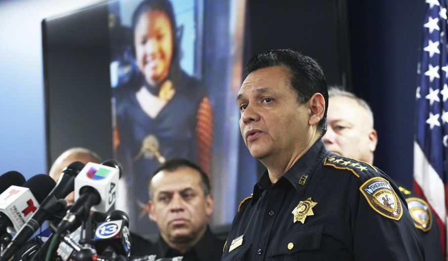 Harris County Sheriff Ed Gonzalez speaks during a news conference, Monday, Dec. 31, 2018, in Houston.  (Nicole Hensley/Houston Chronicle via AP)  ** FILE **