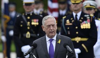 In this Sept. 21, 2018, file photo, Defense Secretary Jim Mattis speaks during the 2018 POW/MIA National Recognition Day Ceremony at the Pentagon. Outgoing Defense Secretary Mattis is quoting President Abraham Lincoln in a farewell message to defense employees, urging them to stay focused on their mission. (AP Photo/Susan Walsh, File)