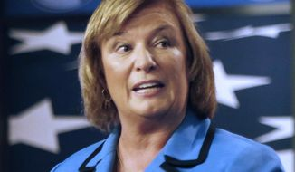 FILE - In this Oct. 27, 2014 file photo, U.S. Rep. Carol Shea-Porter D-N.H., speaks during a debate with her opponent, former Republican U.S. Rep. Frank Guinta, in Manchester, N.H. Four-term Democrat Carol Shea-Porter, who decided not to seek re-election in the 1st District, will be succeeded Thursday, Jan. 3, 2019 by fellow Democrat Chris Pappas.  (AP Photo/Jim Cole, File)