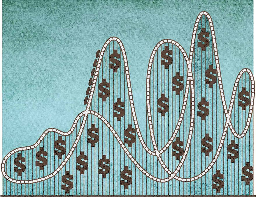 Rollercoaster Stock Market Illustration by Greg Groesch/The Washington Times