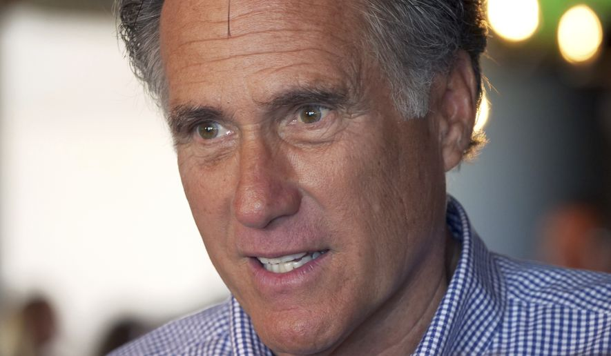 Mitt Romney speaks with customers during a campaign stop at the R&R BBQ restaurant on Tuesday, June 26, 2018, in South Jordan, Utah. (AP Photo/Rick Bowmer) ** FILE **