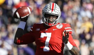 Ohio State quarterback Dwayne Haskins passes against Washington during the first half of the Rose Bowl NCAA college football game Tuesday, Jan. 1, 2019, in Pasadena, Calif. (AP Photo/Jae C. Hong) **FILE**