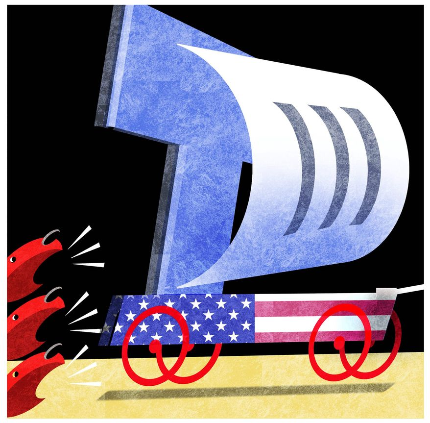 Illustration on Trump's progress in the coming year by Alexander Hunter/The Washington Times