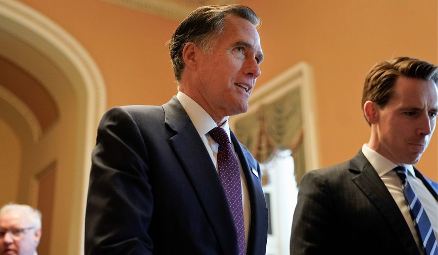 Sen.-elect Mitt Romney, Utah Republican, has had a rocky relationship with President Trump since 2012, when Mr. Trump endorsed Mr. Romney's presidential nomination. (Associated Press)