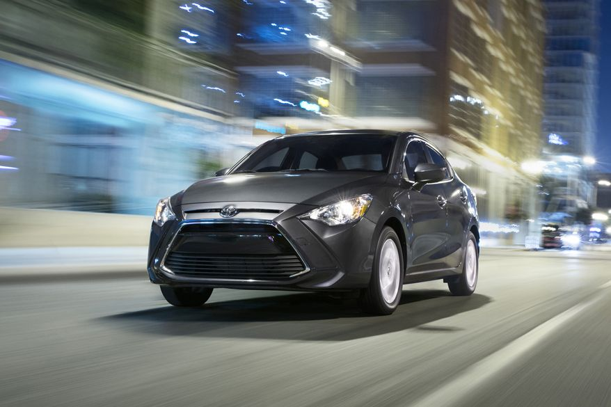 This undated photo provided by Toyota shows the 2019 Toyota Yaris. The Yaris also comes standard with features that others charge extra for, such as automatic emergency braking and voice-controlled infotainment. (Toyota Motor Sales, U.S.A, Inc. via AP)