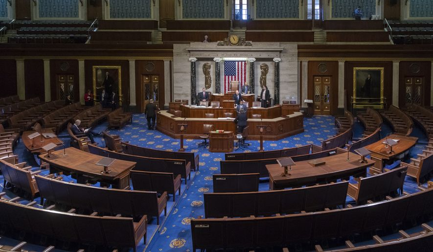 In this file photo from Tuesday, Jan. 3, 2017, the House Chamber is seen at the close of business of the 114th Congress, at the Capitol in Washington. (AP Photo/J. Scott Applewhite, file)
