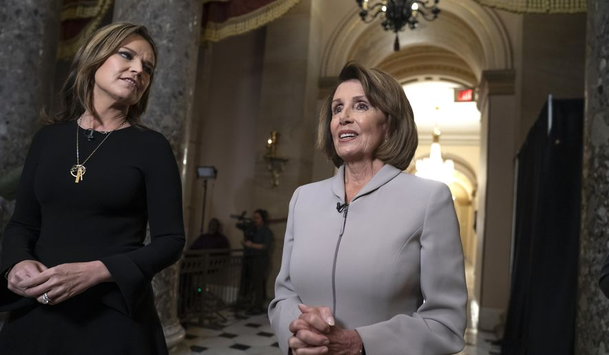 House Democratic Leader Nancy Pelosi of California, who will become speaker of the House on Jan. 3, walks to her new office at the Capitol during a television interview for the NBC Today Show with Savannah Guthrie, left, in Washington, Wednesday, Jan. 2, 2019. The Republicans will relinquish the majority to House Democrats under the leadership of Nancy Pelosi beginning a new era of divided government. (AP Photo/J. Scott Applewhite)