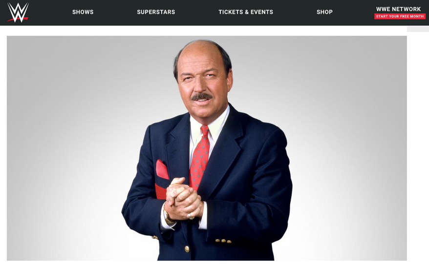 """""""Mean"""" Gene Okerlund, longtime wrestling announcer, has passed away, the WWE announced on Jan. 2, 2019. He is shown here in a screen capture from a WWE web page devoted to his memory. (WWE.com) [https://www.wwe.com/article/mean-gene-okerlund-passes-away?sf205241548=1]"""