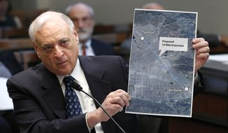 FILE - In this Jan. 27, 2016, file photo, Dan Richard, chairman of the board that oversees the California High Speed Rail Authority, displays a map showing the proposed extension of the rail project to Burbank, during a legislative hearing in Sacramento, Calif. Gov. Jerry Brown has reappointed two leaders of California's embattled high-speed rail board days before leaving office. Brown on Wednesday, Jan. 2, 2019, gave Dan Richard and Tom Richards new four-year terms. They serve as chairman and vice chairman, respectively, of the California High-Speed Rail Authority's board of directors. (AP Photo/Rich Pedroncelli, File)