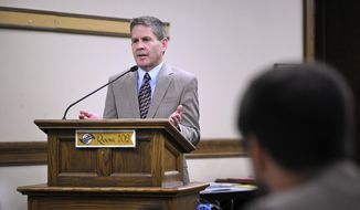 FILE - In this Nov. 13, 2018, file photo, Montana Secretary of State Corey Stapleton speaks at the State Capitol in Helena, Mont. Stapleton, a Republican, announced Wednesday, Jan. 2, 2019, he is running for governor in 2020. (Thom Bridge/Independent Record via AP, File)