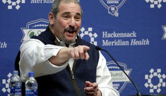 New York Giants general manager Dave Gettleman speaks during an end-of-season press conference at the NFL football team's training facility, Wednesday, Jan. 2, 2019, in East Rutherford, N.J. The Giants finished with a record of 5-11, last in the NFC East division. (AP Photo/Julio Cortez)