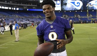 FILE - In this Aug. 9, 2018, file photo, Baltimore Ravens quarterback Lamar Jackson stands on the field after a preseason NFL football game against the Los Angeles Rams, in Baltimore. Jackson will become the first 21-year-old to start at quarterback in an NFL postseason game Sunday, Jan. 9, 2019, when Baltimore hosts the Los Angeles Chargers. (AP Photo/Nick Wass, File)
