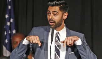 "In this May 10, 2017, file photo, Muslim-American comedian Hasan Minhaj cracks jokes for the audience after New York Mayor Bill de Blasio proclaimed May 10th as ""Hasan Minhaj Day,"" at Gracie Mansion, in New York. In December 2018, Netflix is facing criticism for pulling an episode, from viewing in Saudi Arabia of Minhaj's ""Patriot Act"" that lambasted Saudi Crown Prince Mohammed bin Salman over the killing of writer Jamal Khashoggi and the Saudi-led war in Yemen. (AP Photo/Kathy Willens, File)"