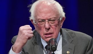 "In this Nov. 27, 2018, file photo, Sen. Bernie Sanders, I-Vt., speaks about his new book, ""Where We Go From Here: Two Years in the Resistance,"" at a George Washington University/Politics and Prose event in Washington. (AP Photo/Alex Brandon, File)"