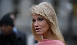 White House counselor Kellyanne Conway speaks to reporters about the government shutdown on Thursday, Jan. 3, 2019, in Washington. (AP Photo/Evan Vucci) ** FILE **