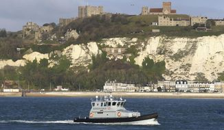 A Border Force patrol vessel leaves the Port of Dover, in England, Wednesday, Jan. 2, 2019, in this file photo. On Saturday, June 1, 2019, Britain's Coastguard helped Border Force officers respond Saturday to reports of boats carrying migrants off the southeastern coast. (Gareth Fuller/PA via AP) **FILE**
