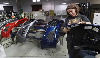FILE- In this Nov. 28, 2018, file photo Crystal Odum inspects the front end of a General Motors Chevrolet Cruze at Jamestown Industries in Youngstown, Ohio. On Thursday, Jan. 3, 2019, the Institute for Supply Management, a trade group of purchasing managers, issues its index of manufacturing activity for December. (AP Photo/Tony Dejak, File)