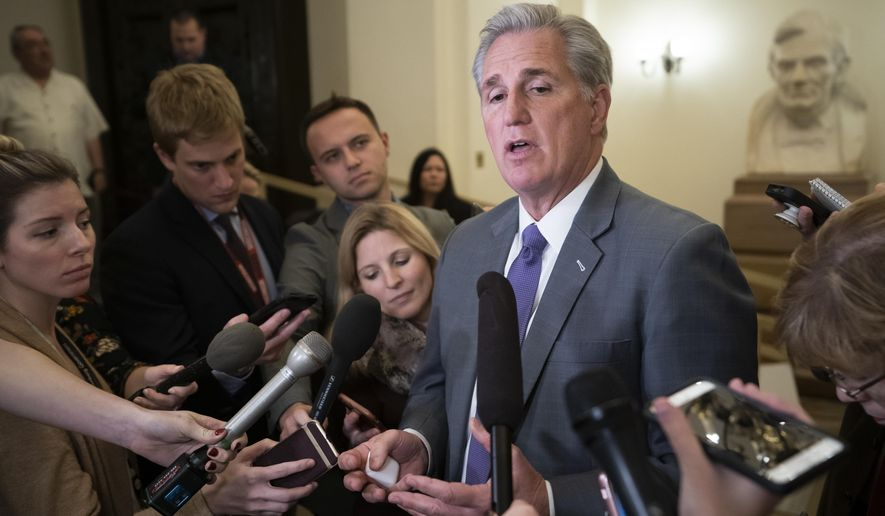 House Majority Leader Kevin McCarthy, R-Calif., speaks to reporters as he returns to the Capitol from a meeting with President Donald Trump about border security and ending the partial government shutdown, in Washington, Wednesday, Jan. 2, 2019.  (AP Photo/J. Scott Applewhite)