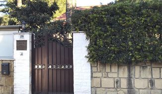 An external view of the North Korean embassy in Rome, Thursday, Jan. 3, 2018.  North Korea's acting ambassador to Italy, Jo Song Gil, went into hiding with his wife in November, South Korea's spy agency told lawmakers in Seoul on Thursday. (AP Photo/Gianfranco Stara)