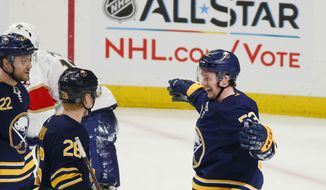 Buffalo Sabres forward Jeff Skinner (53) celebrates his goal with teammates during the first period of an hockey game against the Florida Panthers, Thursday, Jan. 3, 2019, in Buffalo N.Y. (AP Photo/Jeffrey T. Barnes)
