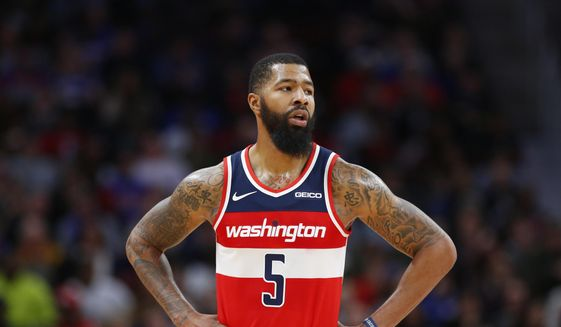 In this Dec. 26, 2018, file photo, Washington Wizards forward Markieff Morris (5) looks on during the second half of an NBA basketball game against the Detroit Pistons, in Detroit. (AP Photo/Duane Burleson) ** FILE **