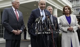 From left, House Majority Leader Steny Hoyer of Md., Senate Minority Leader Chuck Schumer of N.Y., Sen. Dick Durbin, D-Ill., and Speaker of the House Nancy Pelosi of Calif., speak to reporters after meeting with President Donald Trump about border security in the Situation Room of the White House, Friday, Jan. 4, 2018, in Washington. (AP Photo/Evan Vucci)