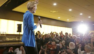 Sen. Elizabeth Warren, D-Mass, waves to her crowd as she arrives to an organizing event at McCoy's Bar Patio and Grill in Council Bluffs, Iowa, Friday, Jan. 4, 2019. Warren is making her first visit to Iowa this weekend as a likely presidential candidate, testing how her brand of fiery liberalism plays in the nation's premier caucus state. (AP Photo/Nati Harnik)