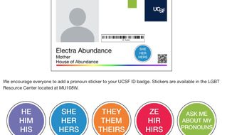 """Identification badges at the University of California, San Francisco, are offered with pronoun stickers to ensure  """"each individual feels safe"""" navigating campus. (Image: UCSF LGBT Resource Center screenshot)"""
