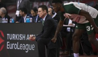 Panathinaikos coach Rick Pitino, left, looks on next to player Thanasis Antetokounmpo, right, during a Euroleague basketball match between Panathinaikos and Olympiakos in Piraeus near Athens, on Friday, Jan. 4, 2019. (AP Photo/Petros Giannakouris)