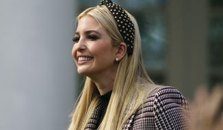 FILE - In this Nov. 20, 2018, file photo, Ivanka Trump, the daughter of President Donald Trump, arrives for a ceremony to pardon the National Thanksgiving Turkey in the Rose Garden of the White House in Washington. An ethics watchdog group asked the Justice Department on Friday to investigate whether President Donald Trump's daughter Ivanka violated federal conflict-of-interest law by promoting an Opportunity Zone tax break program from which she could potentially benefit. (AP Photo/Carolyn Kaster, File)