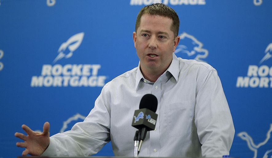 Detroit Lions general manager Bob Quinn talks about the team and its needs and answered questions from reporters during his season ending NFL football news conference, Friday, Jan. 4, 2019, at the team's practice facility in Allen Park, Mich. (Clarence Tabb Jr./Detroit News via AP)