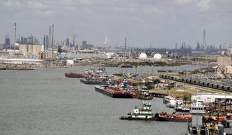 In this Feb. 23, 2012 photo vessels are docked at the Port of Corpus Christi in Corpus Christi, Texas. An Illinois company has won a $92 million contract to deepen and widen the Corpus Christi Ship Channel to accommodate larger oil tankers. The Port of Corpus Christi on Thursday, Jan. 3, 2019, announced the U.S. Army Corps of Engineers selected Great Lakes Dredge & Dock Company. The federal government and the Port of Corpus Christi are funding the overall $360 million ship channel project. (Rachel Denny Clow/Corpus Christi Caller-Times via AP)