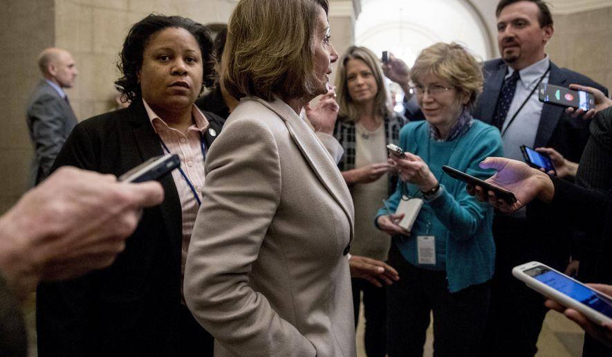 House Speaker Nancy Pelosi of Calif. speaks to reporters as she arrives back at the Capitol building after meeting with President Donald Trump about border security in the Situation Room of the White House in Washington, Friday, Jan. 4, 2019. (AP Photo/Andrew Harnik)