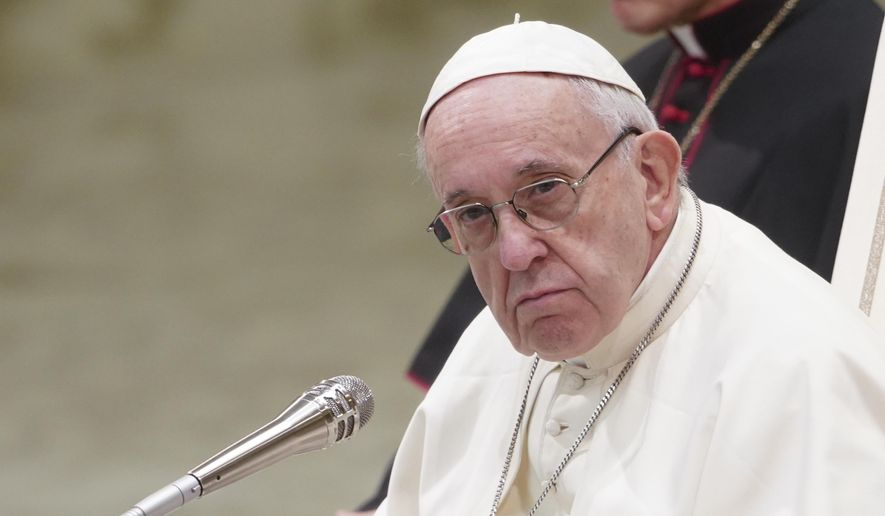 Pope Francis looks on during his weekly general audience in Paul VI hall, at the Vatican, Wednesday, Jan. 2, 2019. (AP Photo/Andrew Medichini)
