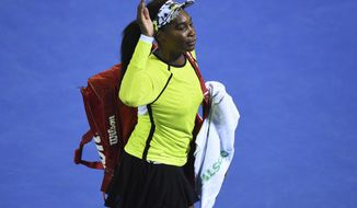 United States' Venus Williams waves as she leaves the court following her quarterfinal loss to Canada's Bianca Andreescu at the ASB Women's Classic tennis tournament in Auckland, New Zealand, Friday, Jan. 4, 2019. (AP Photo/Chris Symes)